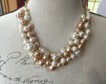 clearanced 16 dollars Statement Pearl necklacn Ivory and champagne pearls on bright silver chain