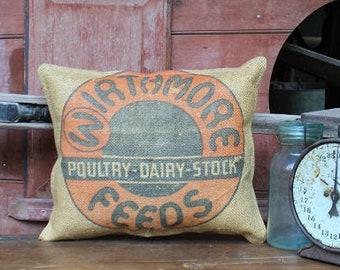 Vintage Wirthmore Feed Sack Pillow | Grain Sack | Burlap Feedsack | Grainsack | Feedsack Pillow | Blue Ticking Pillow