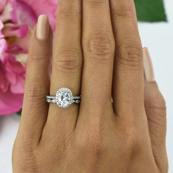 15 Ctw Oval Halo Wedding Set Vintage Style Bridal Rings Man Made Diamond Simulants Art Deco Ring Engagement Sterling Silver