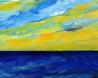 Ocean painting - Ocean Sunrise - Original acrylic painting on canvas - Cloud painting - Original art - Seascape - Wall art - Sky painting