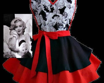 Apron # 4518 Marilyn Monroe black and red retro apron