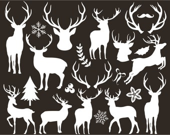 Digital Stamps - Christmas / Reindeer Silhouettes, deer antlers clipart, black and white silhouette, Gold foil, Glitter Reindeer, vector