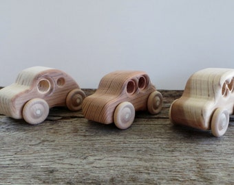 Wood Toy Car-Set of Three-Handcrafted-Push Pull Toy-All Natural-Eco Friendly