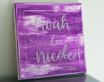 Personalized Hand Lettered Name Art || 10x10 Canvas, Acrylic Paint & Embossing Powder