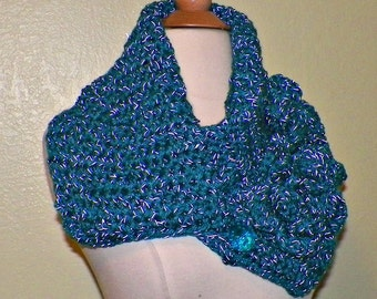 Button Cowl Scarf Infinity Neckwarmer Collar Silver Blue With Flower Brooch Freeform Crochet
