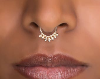 16g Tribal Septum Ring For Pierced Nose. Septum Piercing. Brass Septum. Septum Jewelry. Tiny Septum