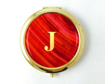 Bridesmaid Personalized Compact Mirror, Red Pocket Mirror,Semi Precious,Gold Monogram Bridesmaid Gift from Bride