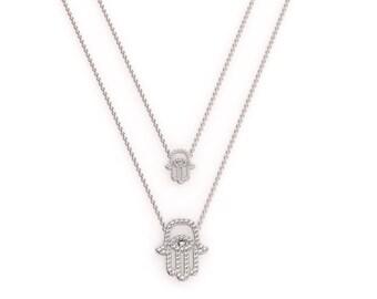 Medium White Gold and Diamond Hamsa Pendant on a Dainty Necklace, Hamsa Diamond Pendant, Evil Eye Necklace, Dainty Diamond Necklace, 18k