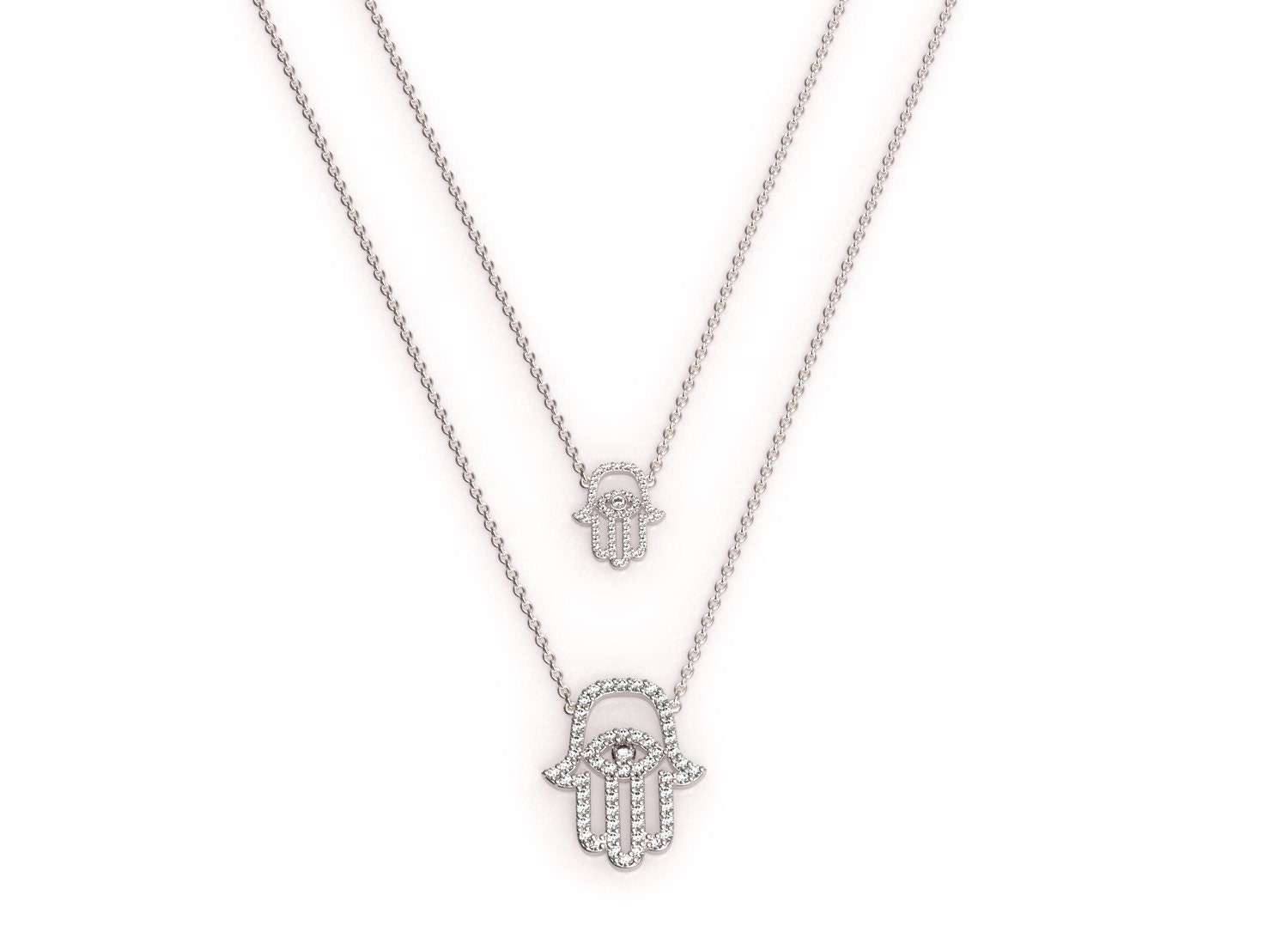 Medium white gold and diamond hamsa pendant on a dainty zoom mozeypictures