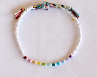 Atebas white spiral anklet wrap multicolor hippie surf Brasilda rainbow anklet
