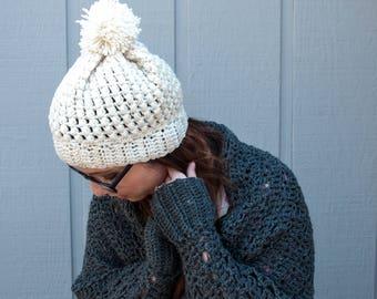 Cream Beanie / Beanie / Handmade / Crochet Beanie / Pom Pom Beanie / Toque / Hat / Cozy Crochet Hat / Puffy Stitch Beanie / Crochet Hat