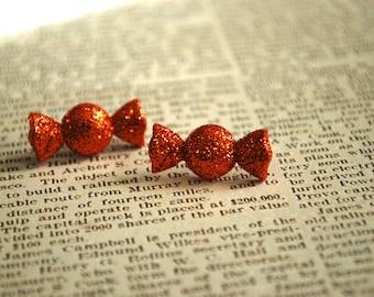 Candy Earrings -- Orange Candy Studs, Halloween Earrings, Glittery Orange Candy Earrings