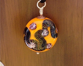 Lampwork Glass Bead in Orange with Latticcino Design