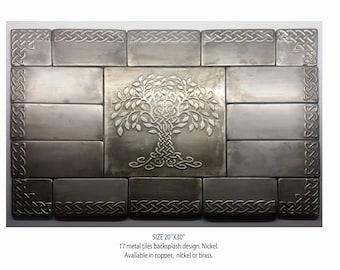 metal backsplash, metal tiles, nickel wall, copper or brass, celtic tree of life, 30''x20'' total size