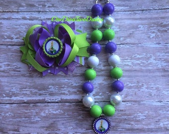 Tinkerbell chunky necklace hair bow set