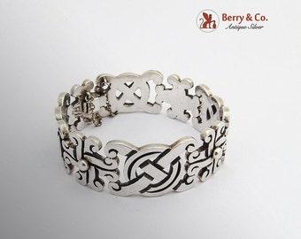 SaLe! sALe! Mexican Aztec Link Bracelet Reven Sterling Silver 1970