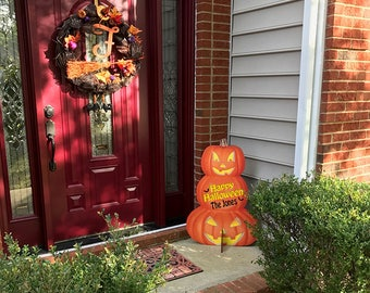 Custom Wooden Halloween Jack-O-Lantern Pumpkin Name Stand