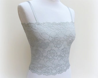 Steel gray lace camisole. Floral lace tank top. Lace bralette. Gray top. Lace lingerie. Gray lingerie.