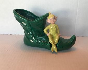 Pixie Elf Shoe Planter Mid Century