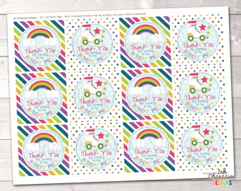 Roller Skating Party Printable Favor Tag Design Birthday Party Favor Tag PDF - INSTANT DOWNLOAD
