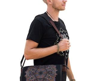 Screen Printed Messenger Bag, Laptop Bag, 15 inch 13 inch Laptop Messenger Bag, Canvas Messenger Bag, Womens Mens Messenger Bag