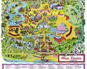 Vintage Disney World Map 1971 Fine Art Paper Print, or Canvas