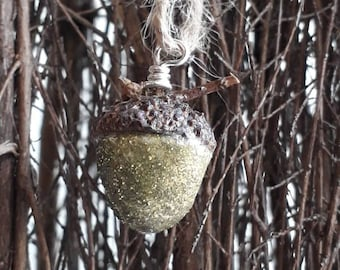 Clay Acorn Gold Glitter Decoration, With real acorn tops, fall home decor