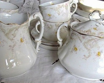 SALE Antique Victorian 1800's Yellow Roses Large Creamer And Sugar Was 97.99 Sale 64.99