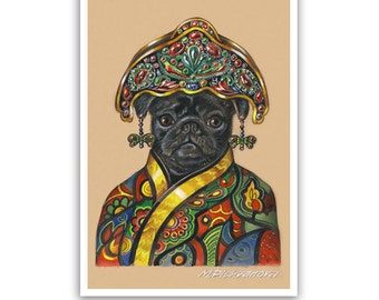 Pug Art Print - Lady from China - Dogs in Clothes, Chinese Dog Prints - Asian Dogs - Black Pug Art - Pet Kingdom by Maria Pishvanova