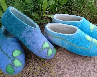Felted clogs,felted slippers, for her, warm clogs, woolen slippers,woolen clogs