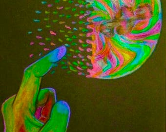 Psychedelic Rainbow Bubble Art // Bubble Painting // Colorful Drawing // Rainbow Artwork // Psychedelic Art // Bubble Drawing