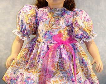 Floral Easter Eggs Dress made to fit 23 inch dolls