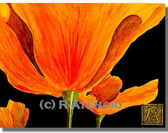 Wall art print poppies orange poppies flower watercolor prints california poppies get well  housewarming bright flowers birthday flowers
