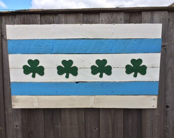 Chicago Irish reclaimed wood 'pallet' flag