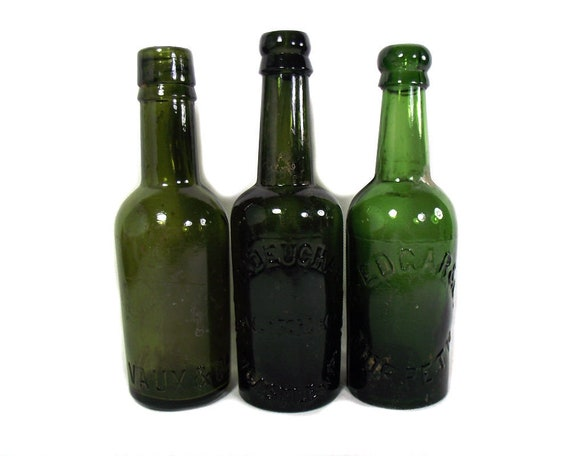 """8"""" Tall English Antique Set of Three Green Glass Beer Bottles"""