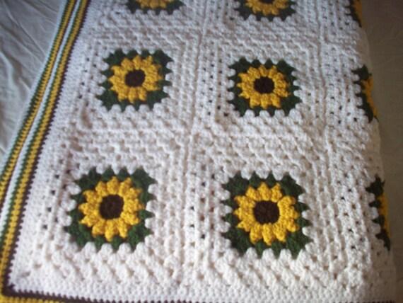 Hand Crocheted Sunflower Granny Square Blanket Afghan Throw