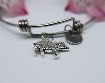 Pig Charm Bangle Silver Pig Charm Bangle Pig Bangle Pig Charm Bracelet  Pig Charm Pig Jewelry  Pig Gift Animal Charm Personalized Bracelet