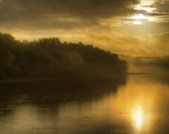 Autumn Sunrise, Landscape Photograph, Delaware River, Bucks County, Pennsylvania, Sun, Reflection Fine Art Photograph Gold, Nature Art Print