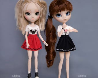 T-shirt with Minnie, Miki Mouse, skirt and bracelet for Pullip, Pure Neemo, Azone, Blythe, Dal, Obitsu 27 soft, Obitsu 23 dolls