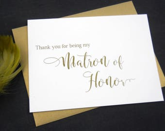 Thank You for being my MATRON OF HONOR Card, Matron of Honor Card, Matron of Honor Gift, Wedding Thank You Card, Matron of Honor Thank You
