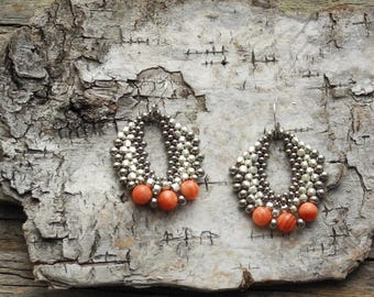 Beaded Statement Earrings - Bead Weaving Jewelry - Silver Galvanized  Round Dangles - BOHO