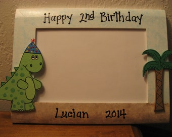 Dinosaur personalized happy birthday custom photo picture frame