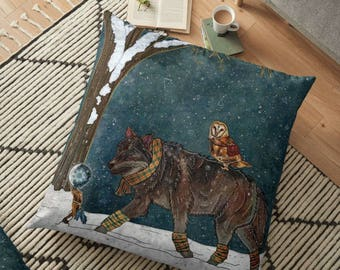 WINTER JOURNEY, Wolf and Barn Owl Pillow, Animals Cushion, Animal Pillow, Winter Pillow, Wolf Pillow Case, Barn Owl Pillow Case, Fantasy