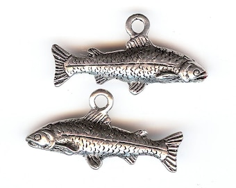 TROUT Charm. Pewter. 3D. My Best Trout. Fish. Made in the USA. One Fish Only! cnt
