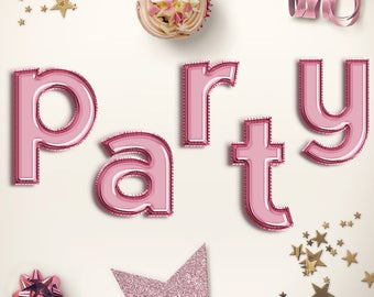 LET'S CELEBRATE! Rose Foil Alphabet Balloons, Lower Case Rose Letter Balloons Clipart, Celebration Balloons Font, Party Letters, BUY5FOR8
