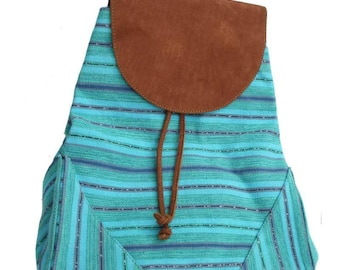 Turquoise Bohemian chic taupe suede and backpack in organic cotton