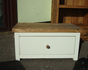 Chunky rustic reclaimed timber Coffee table with draw painted