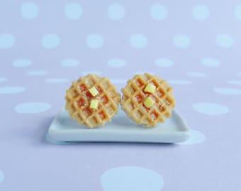 Waffles earrings, round Waffles, polymer clay earrings, food jewellery, dessert earrings, kawaii earrings, miniature waffles, gift for her