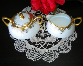 Elegant Gold and White Cream and Sugar Set by H &Co, Bavaria, 1911-1934,