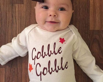 Standard color 2-sided Thanksgiving baby bodysuit. Turkey tail, Turkey baby shirt, gobble gobble, Thanksgiving shirt, infant, baby clothes.